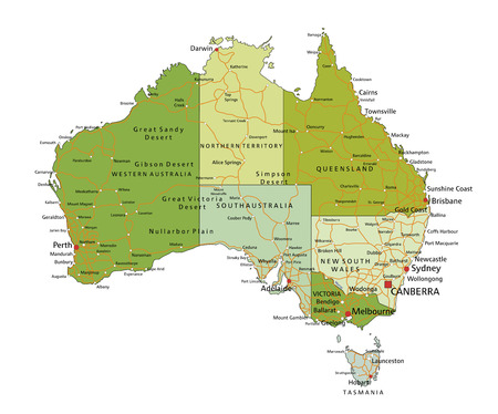 Highly detailed editable political map with separated layers. Australia.
