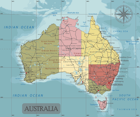 Detailed Australia Political map in Mercator projection. Clearly labeled. Separated layers.