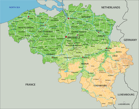 High detailed Belgium physical map with labeling.