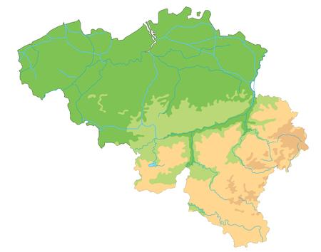 Hoge gedetailleerde fysieke kaart van België.