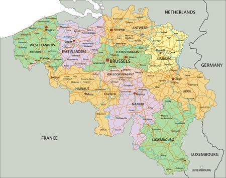 België - Zeer gedetailleerde bewerkbare politieke kaart met etikettering.