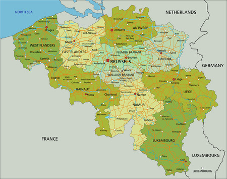 Highly detailed editable political map with separated layers. Belgium.