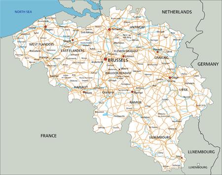 Hochdetaillierte Belgien-Straßenkarte mit Beschriftung. Vektorgrafik