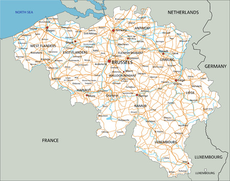 High detailed Belgium road map with labeling.