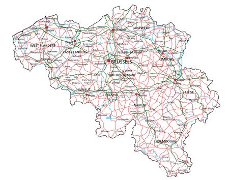 Carte des routes et autoroutes de la Belgique. Illustration vectorielle.