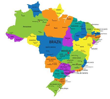 Colorful Brazil political map with clearly labeled, separated layers. Vector illustration.