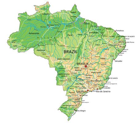 Hochdetaillierte physische Brasilien-Karte mit Beschriftung.