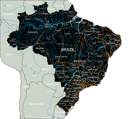 High detailed Brazil road map with labeling. 向量圖像