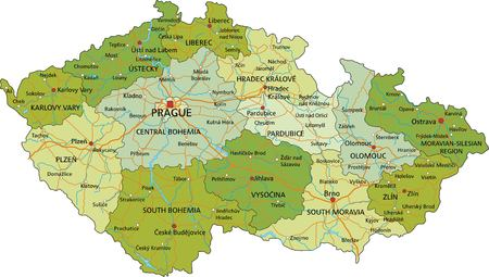 Highly detailed editable political map with separated layers. Czech Republic.