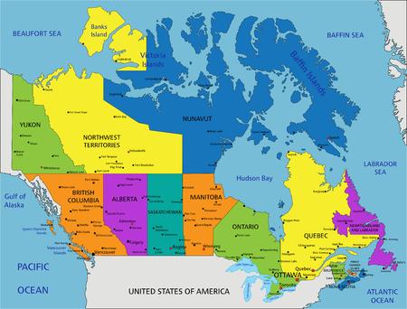 Bunte politische Karte Kanadas mit klar beschrifteten, getrennten Schichten. Vektor-Illustration.