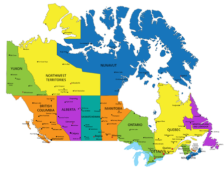 Colorful Canada political map with clearly labeled, separated layers. Vector illustration.