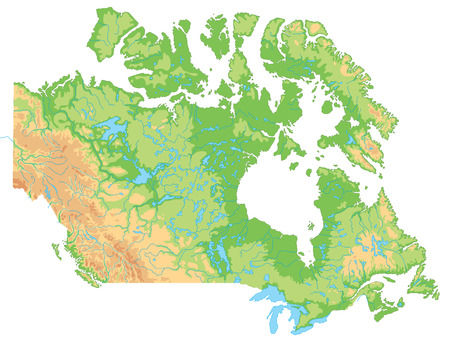 Hochdetaillierte physische Karte von Kanada. Vektorgrafik