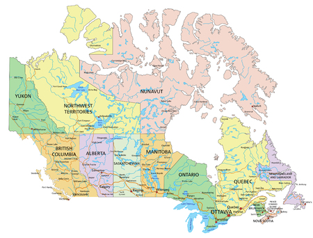 Canada - Highly detailed editable political map with labeling.