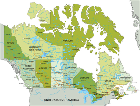 Highly detailed editable political map with separated layers. Canada.