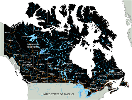 High detailed Canada road map with labeling. Ilustrace