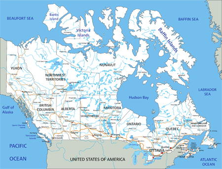 High detailed Canada road map with labeling.