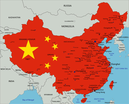 China highly detailed political map with national flag.