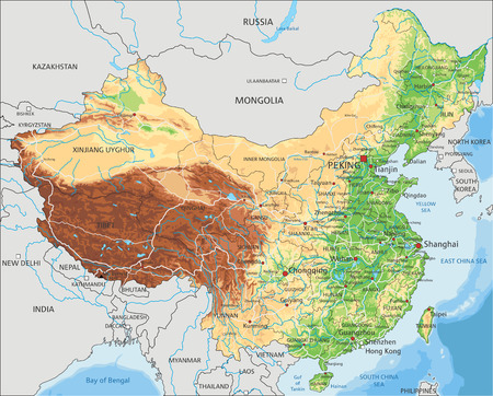 High detailed China physical map with labeling.