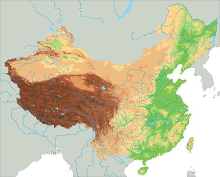 Hochdetaillierte physische China-Karte.