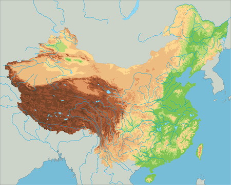 High detailed China physical map.