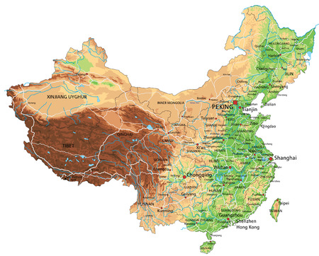 Hochdetaillierte physische China-Karte mit Beschriftung. Vektorgrafik