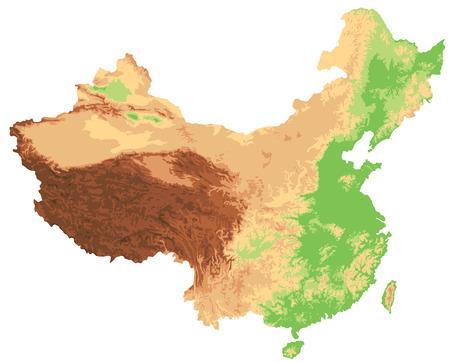 Mappa fisica della Cina altamente dettagliata.