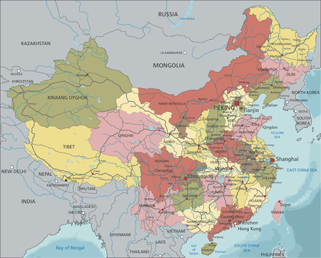 China - Highly detailed editable political map with labeling. Illustration