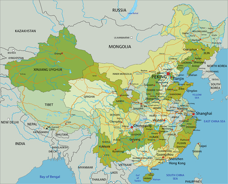 Highly detailed editable political map with separated layers. China.