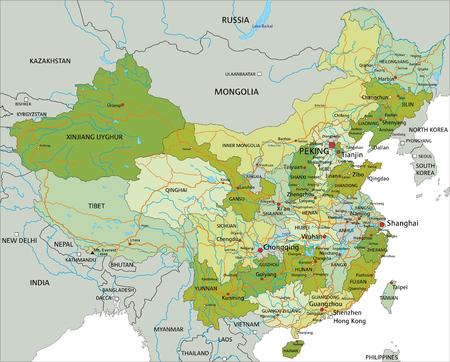 Zeer gedetailleerde bewerkbare politieke kaart met gescheiden lagen. China.