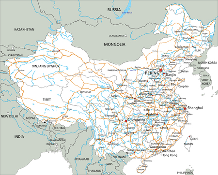 High detailed China road map with labeling.