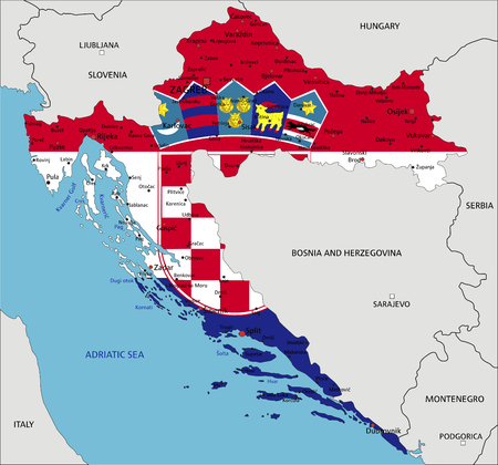 Croatia highly detailed political map with national flag isolated on white background.