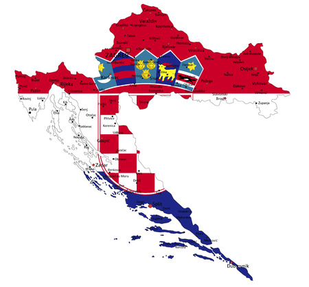 Croatia highly detailed political map with national flag isolated on white background.  イラスト・ベクター素材