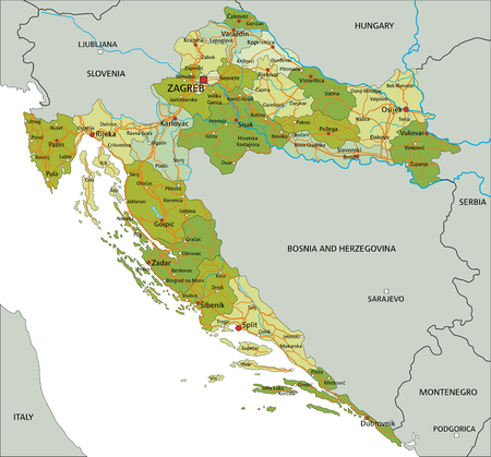 Highly detailed editable political map with separated layers. Croatia.