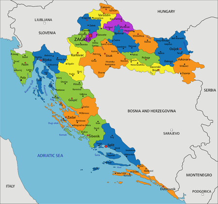 Colorful Croatia political map with clearly labeled, separated layers. Vector illustration. Vetores