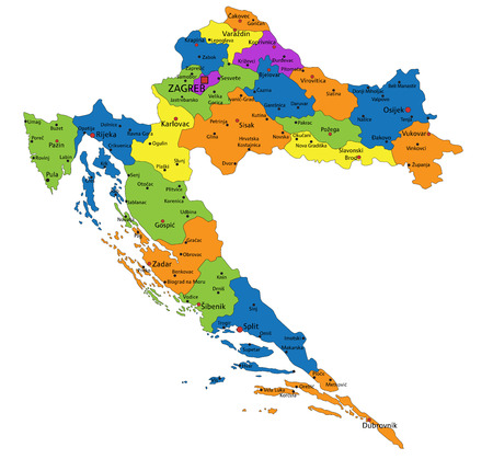 Colorful Croatia political map with clearly labeled, separated layers. Vector illustration.