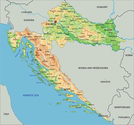 Hochdetaillierte physische Kroatien-Karte mit Beschriftung. Vektorgrafik