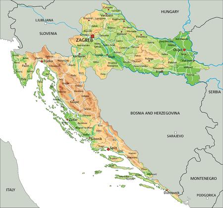 Hochdetaillierte physische Kroatien-Karte mit Beschriftung.
