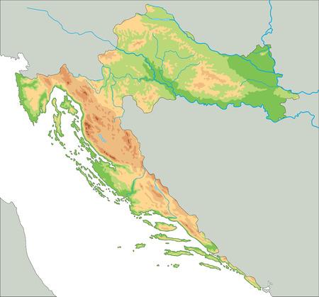 Carte physique croate très détaillée avec étiquetage.