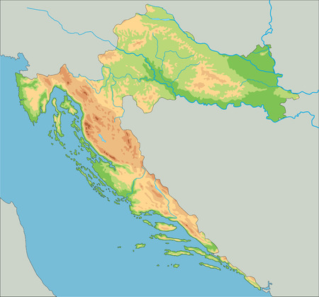 High detailed Croatia physical map with labeling.