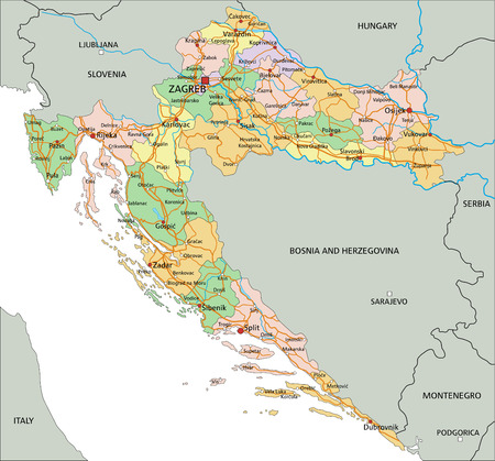 Croatia - Highly detailed editable political map with labeling.