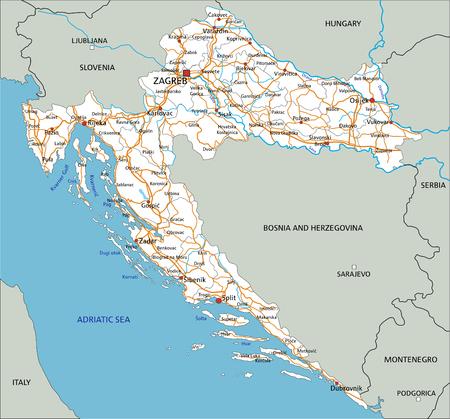 Hochdetaillierte Kroatien-Straßenkarte mit Beschriftung.