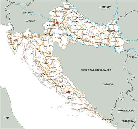 High detailed Croatia road map with labeling.