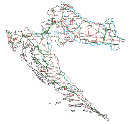 Croatia road and highway map. Vector illustration.