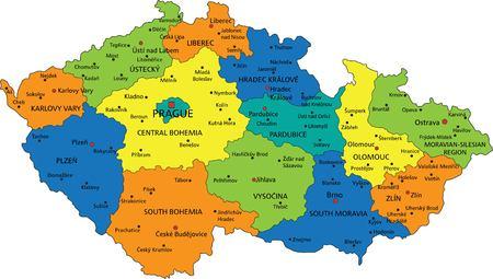 Bunte politische Karte der Tschechischen Republik mit klar beschrifteten, getrennten Schichten. Vektor-Illustration.
