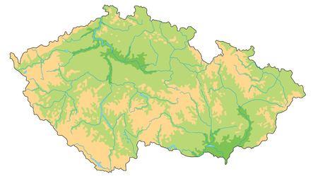 Carte physique très détaillée de la République tchèque.