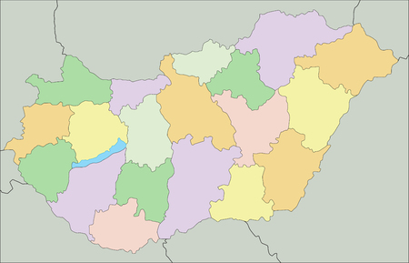 Hungary - Highly detailed editable political map.
