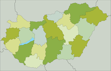 Highly detailed editable political map with separated layers. Hungary. Ilustração