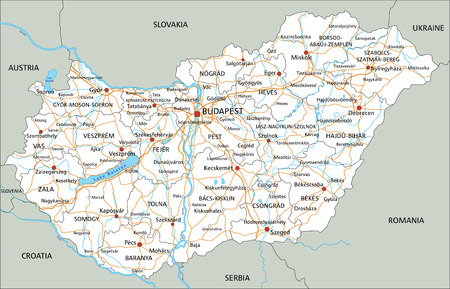 High detailed Hungary road map with labeling.