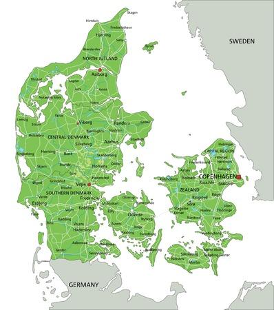 Hochdetaillierte physische Karte von Dänemark mit Beschriftung. Vektorgrafik