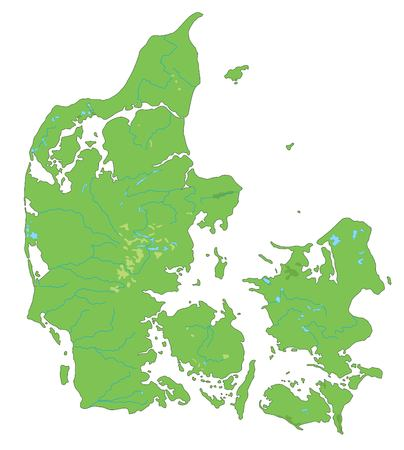 High detailed Denmark physical map.